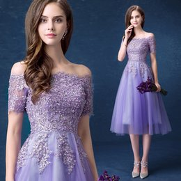 Wholesale Lilac Purple Silk Flowers - Elegant Vestidos De Festa Purple Tulle Cocktail Dress Plus Size Special Dresses Applique Beaded Tea-Length Party Gowns D16
