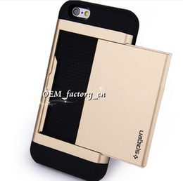 Wholesale Sgp Metal Iphone - For iPhone 6s SGP Slide Card Slot Wallet ID Case Dual Layered Anti-Shock Protector for 7 6s 6plus 5s SE Samsung S7 S6 Edge