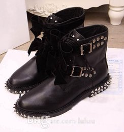 Wholesale Genuine Leather Rolls - Short Motorcycle boots new arrive boots ankle boots heel Rivets fashion Rock roll style leisure women ankle designer brand Rivet Ankle Boots