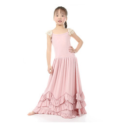 Wholesale Candy Lines - Christmas Sweet Kids Girls Ruffles Maxi Dress Lace Sleeve Pink Color Candy Fashion Dress Princess Party Dress