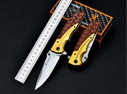 Wholesale best pocket knife steel - Browning camping folding knife Stainless steel blade + wooden handle Hunting best knives survival outdoor pocket hand tools EDC