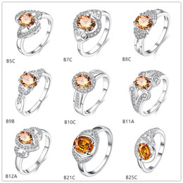 Wholesale Gemstone Hearts Wholesale - 10 pieces mix style champagne gemstone sterling silver rings DFMGR17, wholesale fashion Futaba Double Heart 925 silver ring