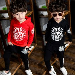 Wholesale Boys 3t Sweater - Boy long-sleeved sports suit 2017 spring and autumn new children's hooded sweater baby long-sleeved autumn casual suit