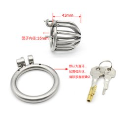 Wholesale Male Chastity Gimp - Latest Design Stainless steel Male Boundage chastity Shortest Cage Urethral Tube Gimp Male Chastity device Adult Cock ring