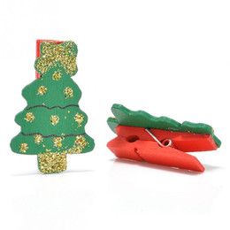 Wholesale Small Wood Clip - Christmas Pattern Mini Wooden Pegs Note Memo Clips Clothespins Christmas wood small clip office note photo folder q171130