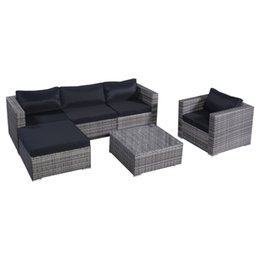 Wholesale Outdoor Rattan Sofas - 6 Pcs Outdoor Wicker Furniture Set Sofas Ottoman with Cushions Gradient Gray,Outdoor PE Wicker Rattan Sofa Furniture, Garden Patio Lawn sofa