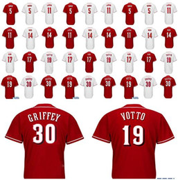 Wholesale Baseball Benches - Men's 19 Joey Votto 5 Johnny Bench Baseball Jersey 30 Ken Griffey 11 Barry Larkin Jersey Embroidery Cool Base Stitched Jerseys
