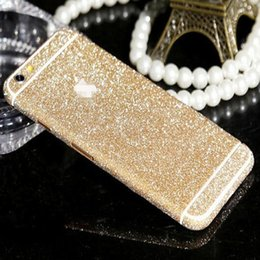 Wholesale Wholesale Custom Decals - Wholesale-9 Colors! Luxury Bling Full Body Decal Glitter Back Film Sticker Case Cover For iPhone 6 4.7 Custom Diamond Ultra Thin Case