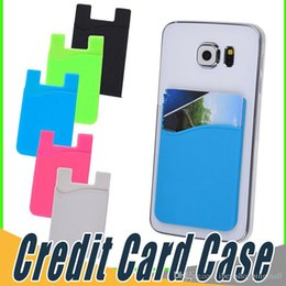 Wholesale blackberry credit card - Ultra-slim Self Adhesive Credit Card Wallet Card Set Card Holder Colorful Silicon For Smartphones For iPhone 8 7 6S Sumsung S8