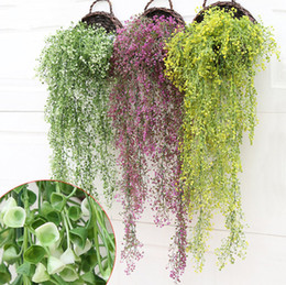 Wholesale Cane Wall - Simulation Artificial Green Grass Plant Bracketplant Cane Vine Hanging Method for Small Rural Household Living Room Wall Decorations