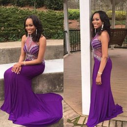 Wholesale Halter Mermaid Dress Bling - Sheer Halter Beaded Evening Dresses Mermaid Purple Long Party Gowns 2017 Sexy Backless Prom Celebrity Dresses Bling Sequined