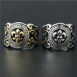 Wholesale Stainless Ring Fleur Lis - Size 7-12 Fleur De Lis Ring 316L Stainless Steel Man Women Golden Silver Gothic Punk Ring