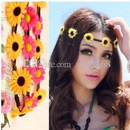 Wholesale Sunflower Headbands - New Women Bohemian Headband five Flowers Braided Leather Elastic Headwrap girls sunflower hair band Assorted Colors Hair Ornaments ZJ-H02