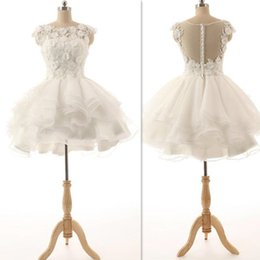 Wholesale Fancy Dress Cocktails - Short Prom Dresses 2016 White Appliques Mini Cocktail Gowns Illusion Back Sexy Homecoming Dress Tulle Real Photos Fancy Graduation
