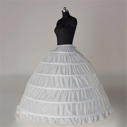 Wholesale Cheap Puffy Ball Gowns - Wholesale 6 Hoops Ball Gown White Bridal Petticoat Bone Full Crinoline Tulle Long Puffy Wedding Petticoat Cheap Simple In Stock