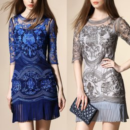 Wholesale Wholesale Runway Clothing - Summer Hotsell Embroidery Evening Dresses Hollow Lace Pleated Skirt Womens Clothing Street Style Runway Half Sleeve Vogue Party Fashion