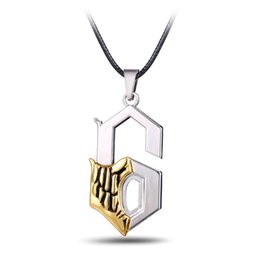 Wholesale Bleach Resin - 2017 New Anime Jewelry Bleach Metal Necklace Grimmjow Jeagerjaques Pendant Cosplay Accessories Jewelry 6 Letter Pendant Freeshipping