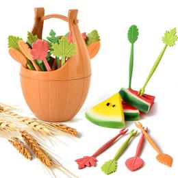 Accesorios de cocina online-Utensilios de cocina herramientas de fruta utensilios de cocina herramientas de frutas y verduras cuchillo y tenedor accesorios degradación conjuntos de fibra de trigo