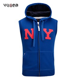 Wholesale Fleece Outlet - Fall-2015 vest men with hoodie NY cotton fleece sleeveless cardigans men's casual waistcoat colete masculino factory outlet wholesale