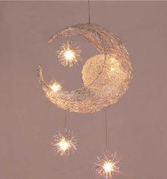 Wholesale Moon Pendant Lamp - Kid's Room Lighting Modern Fashion Moon&Star Pendant Lights Child Bedroom Lamps Aluminum Chander for Living Room Home Decoration