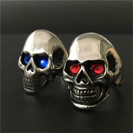 Wholesale Skull Polish - 2pcs lot Polishing Crystal Eyes Ghost Skull Ring 316L Stainless Steel Fast Shipping Band Party Biker Skull Ring