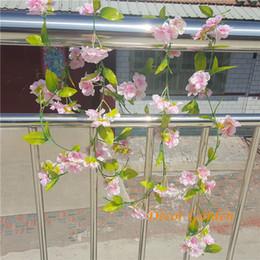 Wholesale Sakura Wedding - 230cm Long Fake Sakura Vines Artificial Cherry Blossom Vine for Wedding Party Home Decorative Wall Hanging Flowers