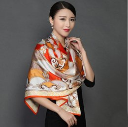 Wholesale Synthetic Female Chinese - TOP Brand Chinese Traditional Brand Pure Silk Scarves 170x55cm Silk Scarf Chain Printed For Ladies Limited Luxury Scarf Hijab Female Origina