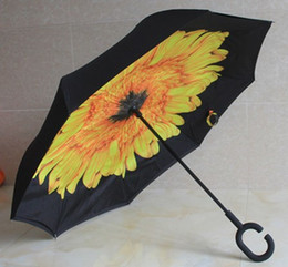 Wholesale Double Parasol Umbrella - Inverted Parasol Umbrella UV Protection Double Layer Reverse Rainy Sunny Umbrella with C J Handle Self Standing Inside Out Sun Umbrella HOT