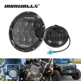 Wholesale Led Headlight For Car Motorcycle - Ironwalls 7 inch H4 75W Motorcycle Led Headlight Car Cree Chips Driving Light For Harley Davidson FLD Touring Trike Jeep Wangler