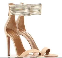 Wholesale Golden High Heels Free Shipping - 2016 Wholesale free shipping spring and summer Aquazzura beige black sheepskin suede high with fine with golden ring foot open-toed women sa