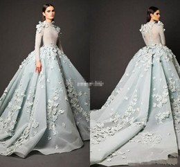 Wholesale Red Celebrity Evening Dres - 2016 Winter Zuhair Murad Evening Dresses Long Sleeve High Neck Ball Gown Chapel Train Prom Gown Long Special Occasion Celebrity Formal Dres