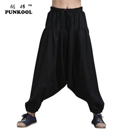 Wholesale Korean Style Harem Pants - Wholesale-Mens Drop Crotch Pants 2016 New Brand Korean Style Hip Hop String Mens Jogger Casual Flax Elastic Trousers Harem Sweatpants 69