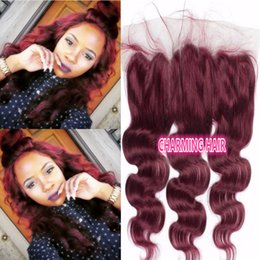 Wholesale 12 13 Wig - Wine Red 99j Lace Frontal Closure 13*4 Body Wave Burgundy Brazilian Human Hair Ear to Ear Full Lace Frontals with Baby Hair