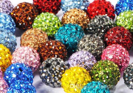 Wholesale Wholesale Crystal Pave Beads - 100pcs lot 10mm mixed multi color Micro Pave CZ Disco Crystal Shamballa Bead Bracelet Necklace Beads.Hot beads Lot!Rhinestone DIY spacer