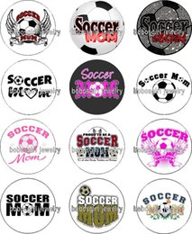 Wholesale Wholesale Soccer Flags - Free shipping Soccer MOM glass Snap button Jewelry Charm Popper for Snap Jewelry good quality 12pcs   lot Gl352 jewelry making