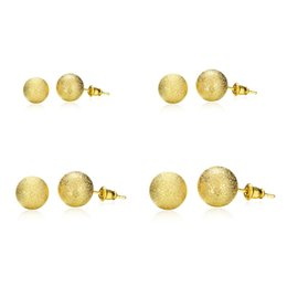 Wholesale Stud Diameter - Gold Plated Women Stud Earrings 4 Different Sizes 6MM 8MM 10MM 12MM Diameter Lovely Ball Earrings Fashion Jewelry for Women Party or Gift