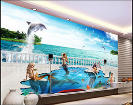 wall stickers mermaids Promo Codes - 3d wallpaper custom photo non-woven mural wall sticker fairy tale world mermaid dolphins painting picture 3d wall room murals wallpaper