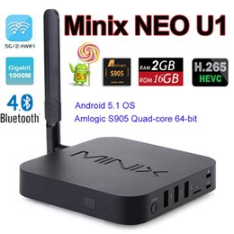 Wholesale Minix 16gb - MINIX NEO U1 Android 5.1 TV BOX Amlogic S905 Quad-core 2G 16G 4K 5G WiFi 3G H.265 Bluetooth Airplay + NEO A2 Lite Fly Air Mouse MXQ Pro