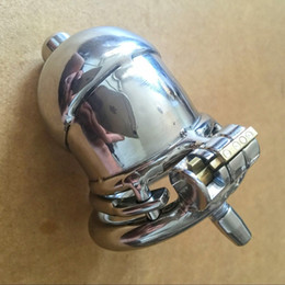 Wholesale Curved Stainless Chastity Belt - NEW Stainless Steel Super Small Male Chastity device Adult Cock Cage With Curve Cock Ring BDSM Sex Toys Bondage Chastity belt