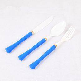 Wholesale Chopstick Spoon Fork - Ceramic Utensil 3Pcs Set Western Dinner Cutlery Dinnerware Set Spoon Fork Knife Travel Portable Spoon Fork Chopsticks