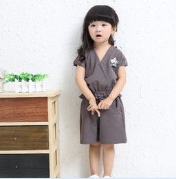 Wholesale Japanese Buttons Wholesale - 2016 Summer Japanese Style Fashion Clothing 2pcs Set Girls V Neck Lace Tops + Shorts Outfits Kids Clothes Grid Outwear Skirt Suit K7088