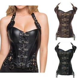 e23ae2e16b Steampunk Sexy Black Faux Leather Buckle Overbust Halter Corset Top Waist  Corselet Burlesque Costume Push Up Corsets