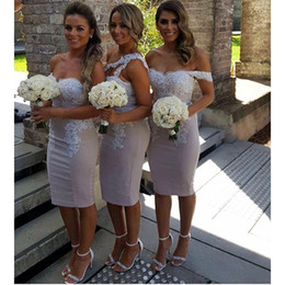 Wholesale Beautiful Columns - Beautiful Knee Length Sheath Bridesmaid Dresses Lace Appliqued Strapless Backless Bridesmaid Gowns Custom Made Formal Dress