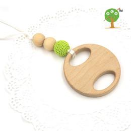 Wholesale Mamas Pads - Mama Nursing Necklace mommy jewelry Lemon green crochet beads big beech wooden teether round pad rattle EN47