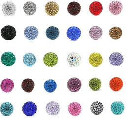 Wholesale Cheap Pink Necklaces - Cheap! free shipping 100pcs lot 10mm Mixed Color Micro Pave CZ Disco Ball Crystal Shamballa Bead Bracelet Necklace Beads 2894