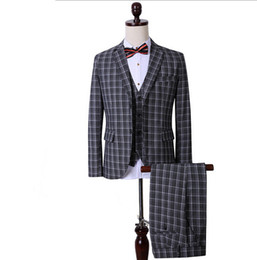 Wholesale Korean Groom - Wholesale-The new boutique Korean Plaid suit groom three piece suit with occupation (jacket+pants+vest)