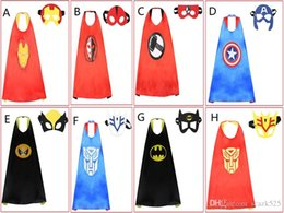 Wholesale Carnival Costume Pair - Halloween cape+mask pair costume ball special occasions gifts for kids boys grils Double side L70*70cm kids Capes and masks F037
