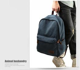 Wholesale Book Shape Bag - 2016 Fashion Retro Style Men Backpack Bag Leather Straps Fashion Travel Canvas Laptop Backpack Travel Bag Book Bags