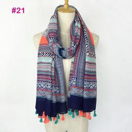 Wholesale Wholesale Ladies Viscose Scarf - New Deisgn Fashionable spring color ladies flower Printing viscose hijab tassel scarf women