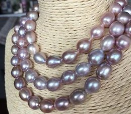 Wholesale 13mm Pearl Necklace - Elegant Single Strands 11-13mm South Sea Lavender Baroque Pearl Pecklace 38 inch 14k Gold Clasp
